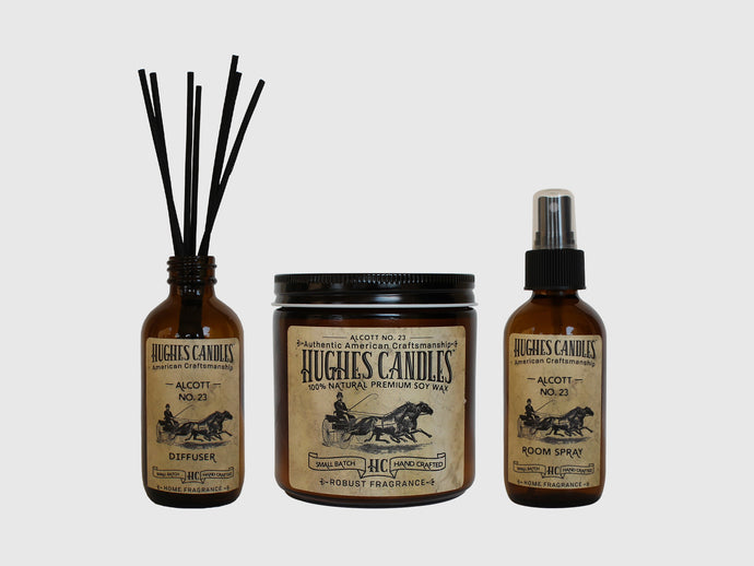 Hughes Candles Room Spray, Diffuser, and Wood Wick Soy Candle set