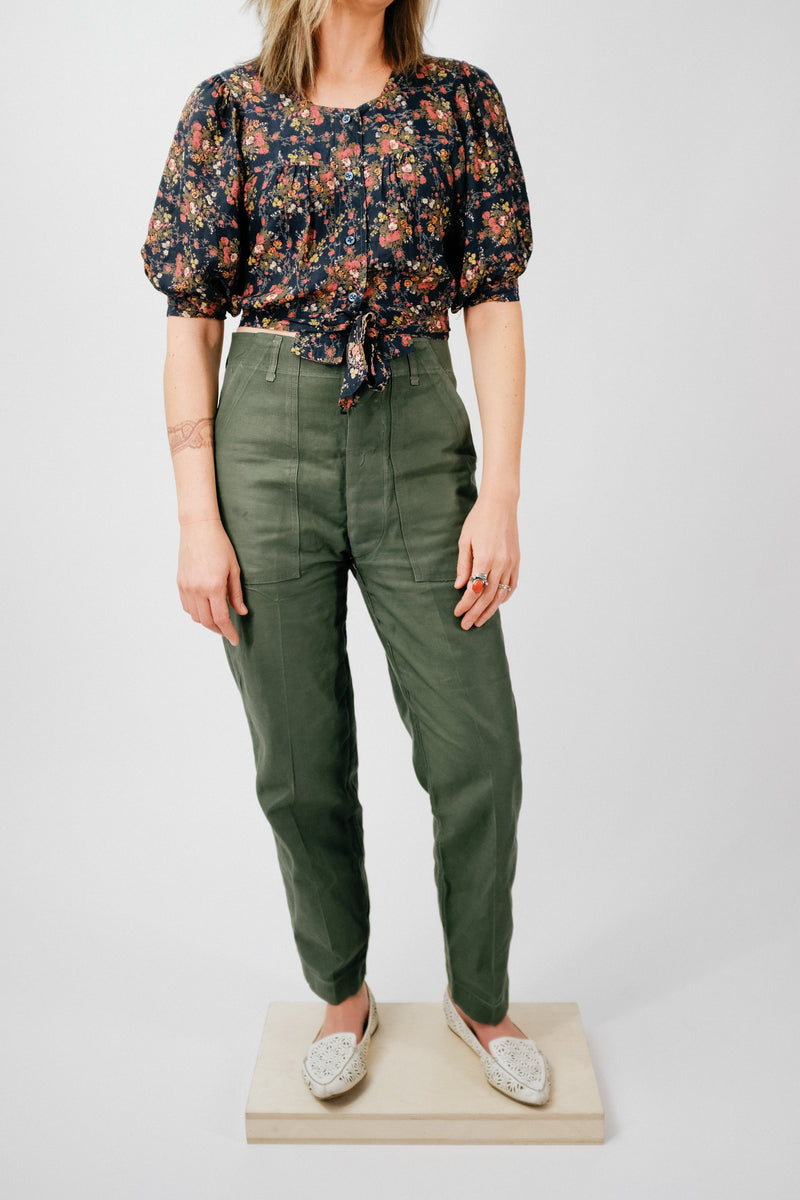 Vintage button front army trousers