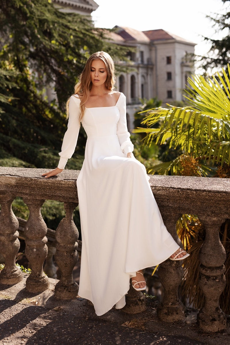 minimalist modest simple  crepe wedding dress with sleeves | BELLA