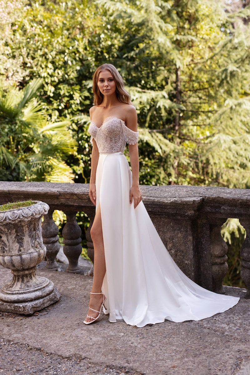 boho wedding dress LOLA,  lace top off the shoulder straps bridal separates, silk skirt