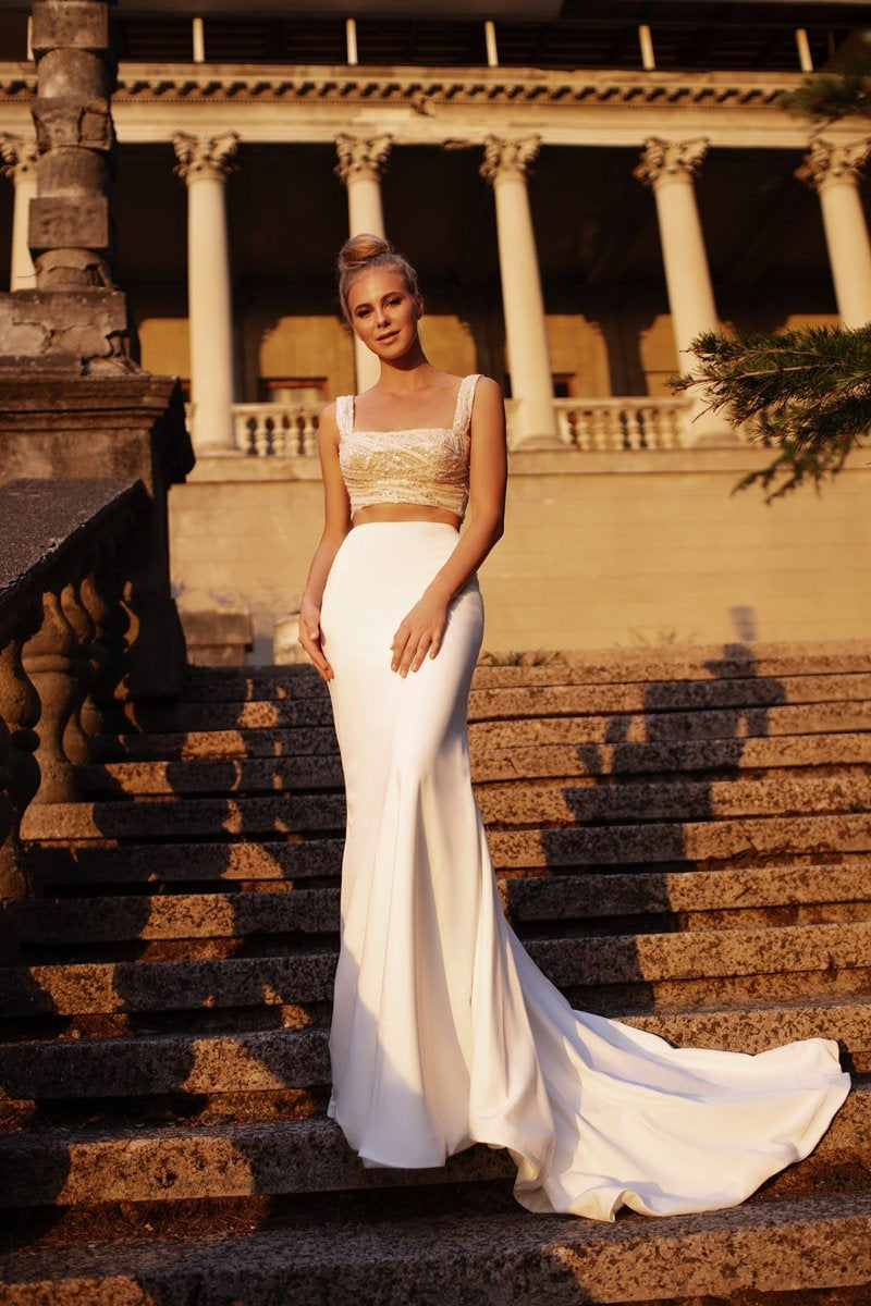 Square neckline bridal top  and a minimalist crepe fit and flare skirt |  CHARLOTTE wedding dress