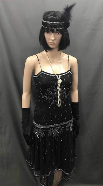 1920s Dress - Long Black Beaded Sexy Cocktail - Hire - The Costume Company | Fancy Dress Costumes Hire and Purchase Brisbane and Australia
