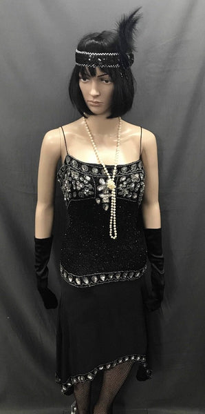 1920s Dress - Long Black Gem and Sequin Flapper - Hire - The Costume Company | Fancy Dress Costumes Hire and Purchase Brisbane and Australia