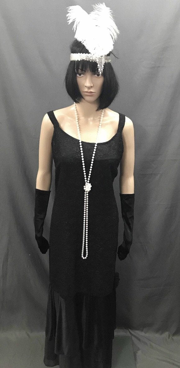 1920s Dress - Long Fine Cut Black Flapper - Hire - The Costume Company | Fancy Dress Costumes Hire and Purchase Brisbane and Australia