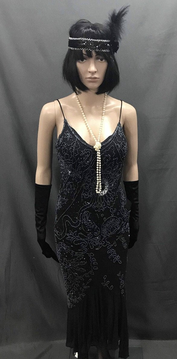 1920s Dress - Long Sexy Black Beaded Flapper - Hire - The Costume Company | Fancy Dress Costumes Hire and Purchase Brisbane and Australia