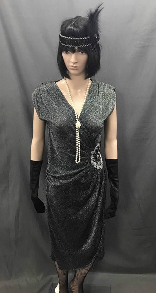 1920s Dress - Long Silver and Black Glitter Flapper - Hire - The Costume Company | Fancy Dress Costumes Hire and Purchase Brisbane and Australia