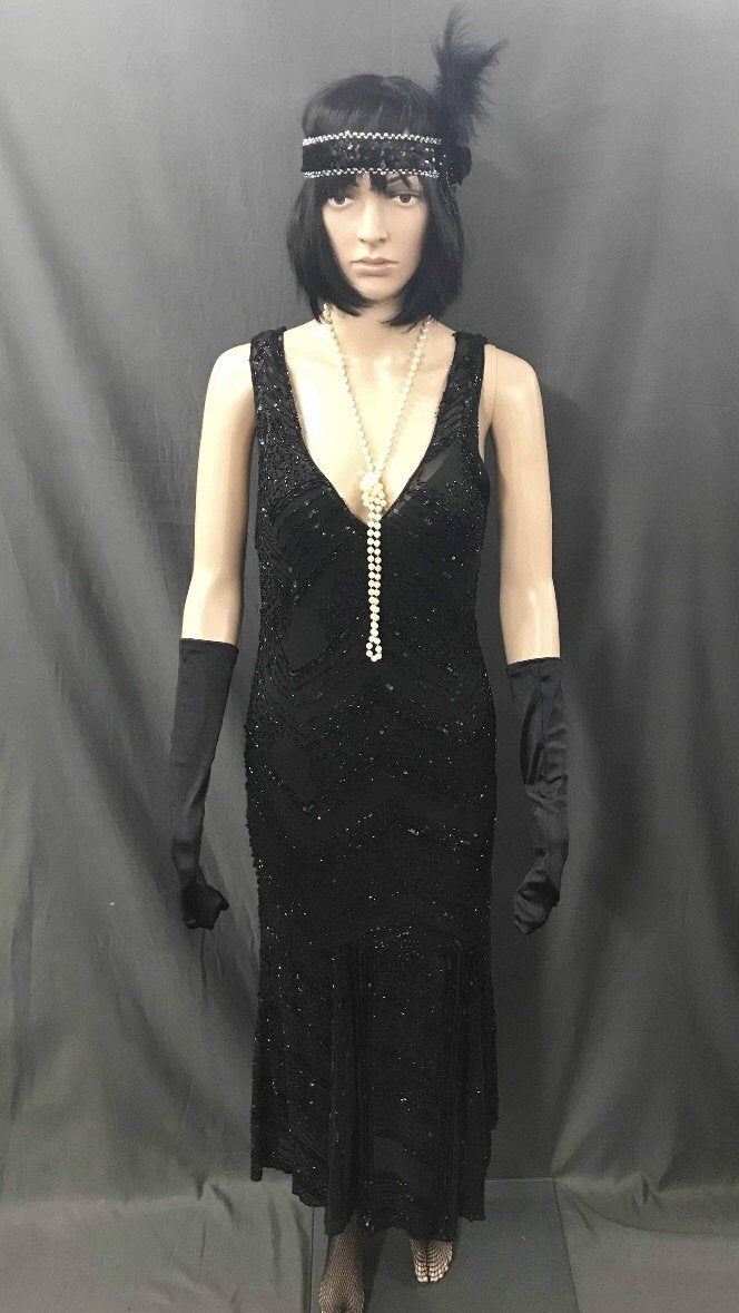 1920s Dress - Long V Neck Black Flapper - Hire - The Costume Company | Fancy Dress Costumes Hire and Purchase Brisbane and Australia