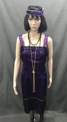 1920s Dress - Purple Three Quarter Flapper - Hire - The Costume Company | Fancy Dress Costumes Hire and Purchase Brisbane and Australia
