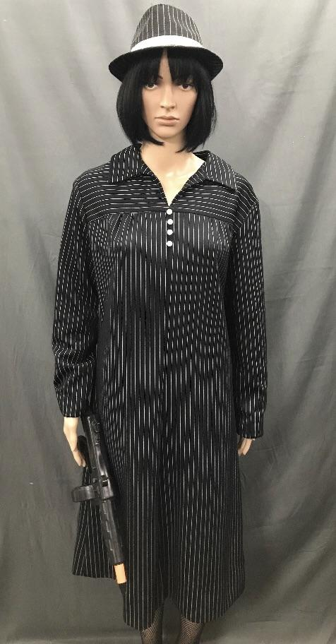 1920's Gangster Moll Pin Stripe Dress Plus Size - Hire - The Costume Company | Fancy Dress Costumes Hire and Purchase Brisbane and Australia