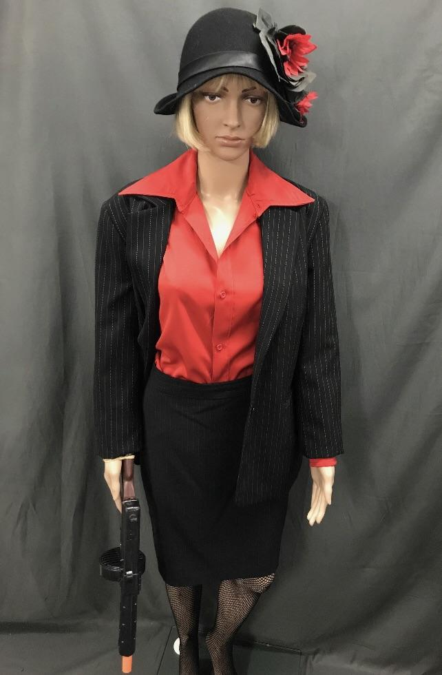 1920's Gangster Moll Pin Stripe Suit - Hire - The Costume Company | Fancy Dress Costumes Hire and Purchase Brisbane and Australia