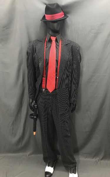 1920s Gangster Pinstripe Suit Red - Hire - The Costume Company | Fancy Dress Costumes Hire and Purchase Brisbane and Australia