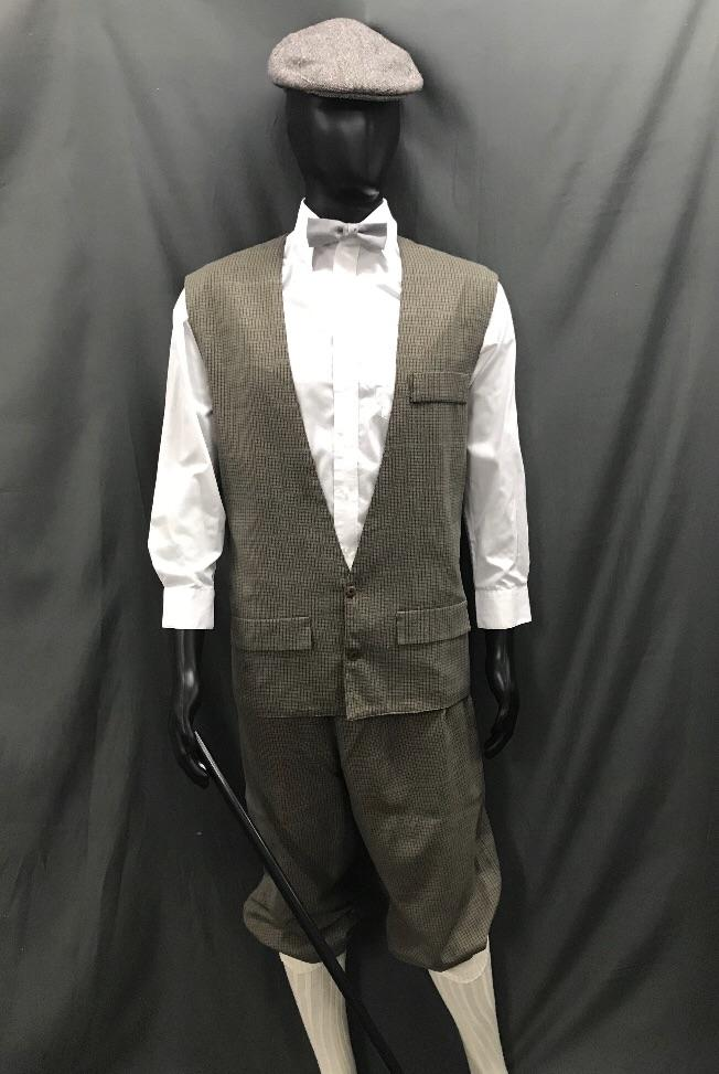 1920s Golfer Brown and Green Pinstripe - Hire - The Costume Company | Fancy Dress Costumes Hire and Purchase Brisbane and Australia