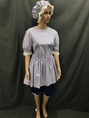 1920s Simmers Blue and White Stripe with Swim Cap - Hire - The Costume Company | Fancy Dress Costumes Hire and Purchase Brisbane and Australia