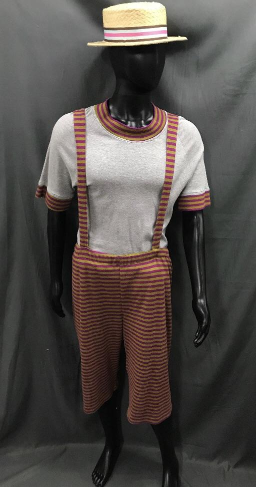 1920s Simmers Brown and Orange Stripe with Boater Hat - Hire - The Costume Company | Fancy Dress Costumes Hire and Purchase Brisbane and Australia