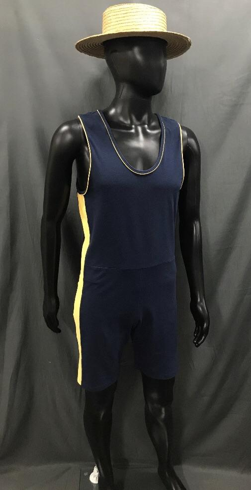 1920s Simmers Navy with Yellow Stripe and Boater Hat - Hire - The Costume Company | Fancy Dress Costumes Hire and Purchase Brisbane and Australia