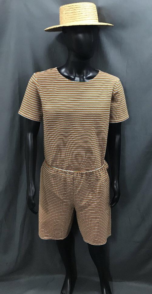 1920s Simmers Orange, Green and White Stripe with Boater Hat - Hire - The Costume Company | Fancy Dress Costumes Hire and Purchase Brisbane and Australia