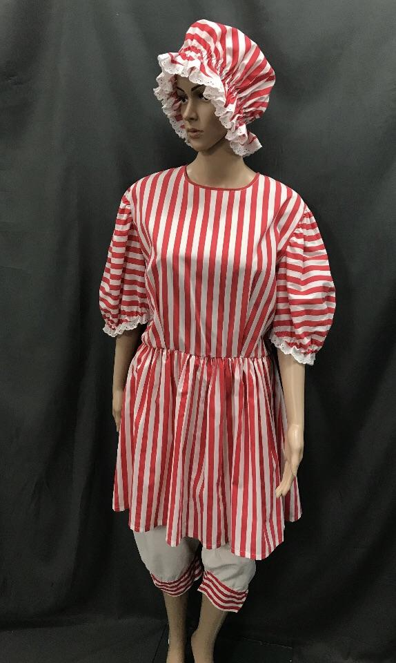 1920s Simmers Red and White Stripe with Swim Cap - Hire - The Costume Company | Fancy Dress Costumes Hire and Purchase Brisbane and Australia