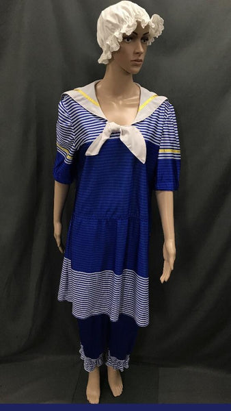 1920s Simmers Royal Blue and White Stripe with Swim Cap - Hire - The Costume Company | Fancy Dress Costumes Hire and Purchase Brisbane and Australia