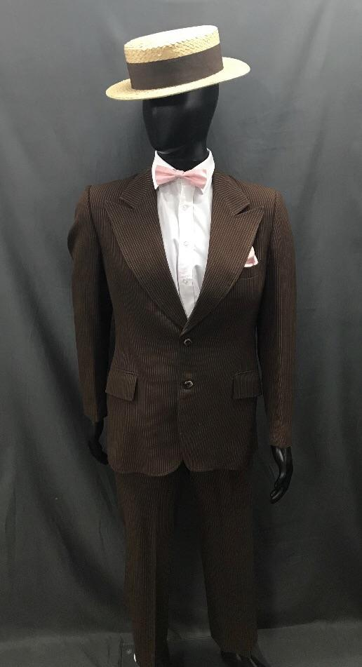 1920s Suit Brown Pinstripe - Hire - The Costume Company | Fancy Dress Costumes Hire and Purchase Brisbane and Australia
