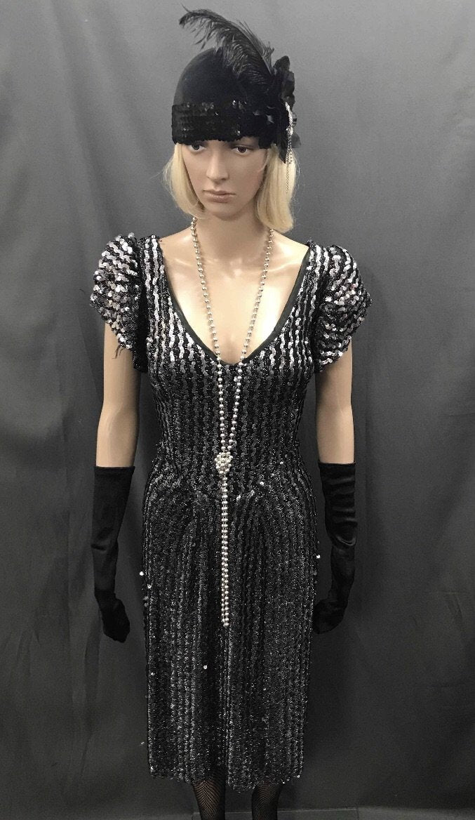 1930s-40s Bias Cut Cocktail Dress - Black Silver Beaded - Hire - The Costume Company | Fancy Dress Costumes Hire and Purchase Brisbane and Australia