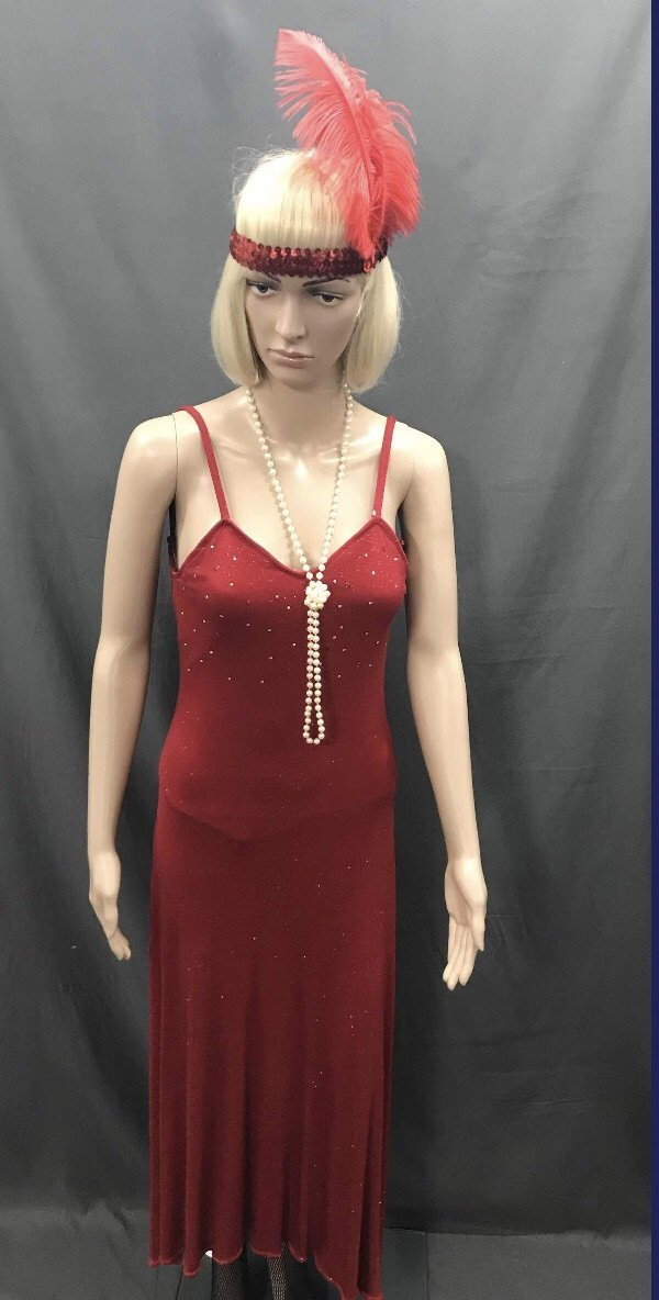 1930s-40s Bias Cut Cocktail Dress - Long Red Sexy Sequin - Hire - The Costume Company | Fancy Dress Costumes Hire and Purchase Brisbane and Australia