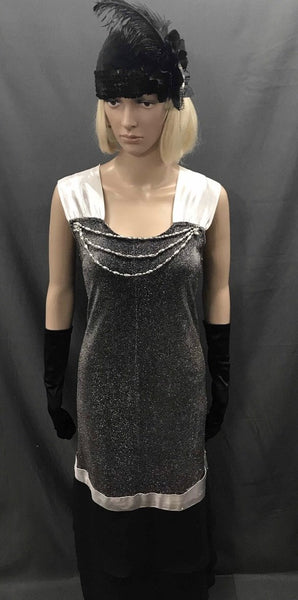 1930's Bias Cut Cocktail Dress - Black Silver and White - Hire - The Costume Company | Fancy Dress Costumes Hire and Purchase Brisbane and Australia