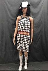60-70s Ladies - Black And White Dress with Rings - Hire - The Costume Company | Fancy Dress Costumes Hire and Purchase Brisbane and Australia