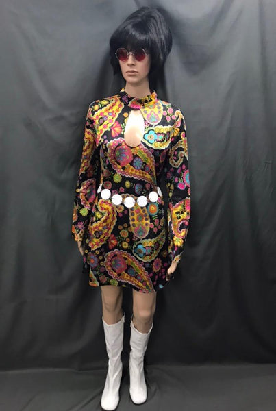 60-70s Ladies - Black Dress with Bright Flowers - Hire - The Costume Company | Fancy Dress Costumes Hire and Purchase Brisbane and Australia