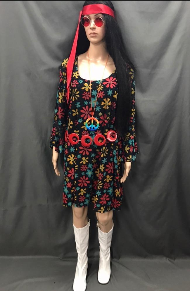60-70s Ladies - Black Dress with Red and Yellow Flowers - Hire - The Costume Company | Fancy Dress Costumes Hire and Purchase Brisbane and Australia