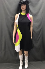 60-70s Ladies - Black Mod Dress with Pink and Green - Hire - The Costume Company | Fancy Dress Costumes Hire and Purchase Brisbane and Australia
