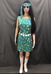 60-70s Ladies - Blue Dress with Green and White Squares - Hire - The Costume Company | Fancy Dress Costumes Hire and Purchase Brisbane and Australia