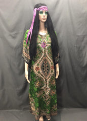 60-70s Ladies - Green Hippie Long Dress - Hire - The Costume Company | Fancy Dress Costumes Hire and Purchase Brisbane and Australia
