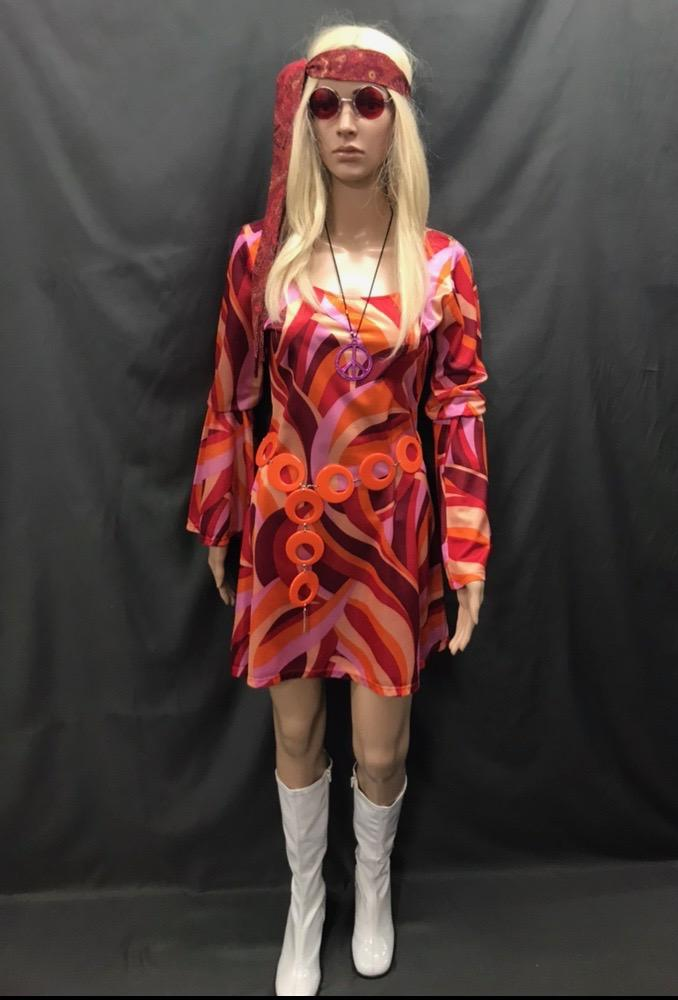60-70s Ladies - Orange and Red Swirl Dress - Hire - The Costume Company | Fancy Dress Costumes Hire and Purchase Brisbane and Australia