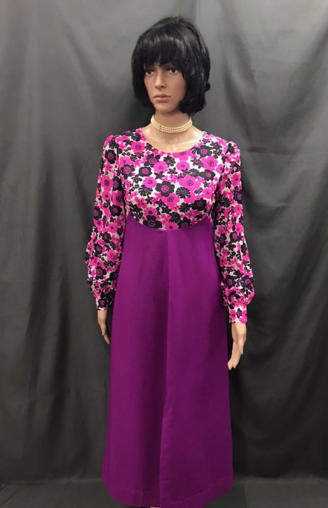 60-70s Ladies - Pink and Purple Floral Top Dress - Hire - The Costume Company | Fancy Dress Costumes Hire and Purchase Brisbane and Australia