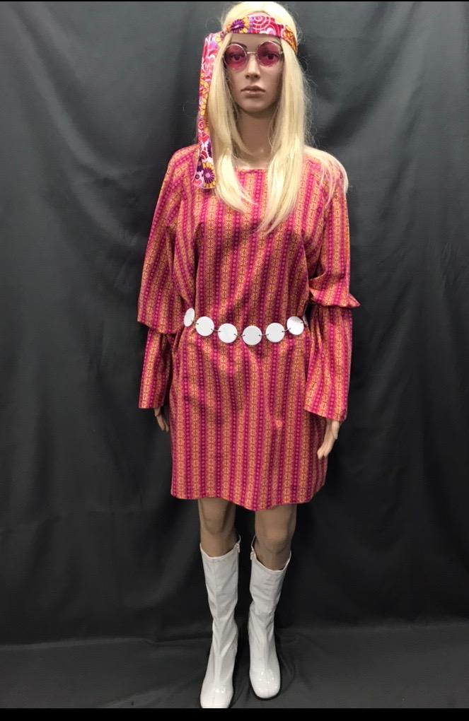 60-70s Ladies - Pink and Yellow Diamond Pattern Dress - Hire - The Costume Company | Fancy Dress Costumes Hire and Purchase Brisbane and Australia