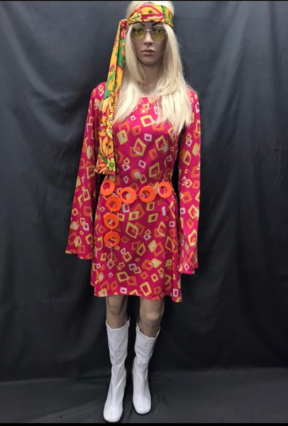 60-70s Ladies - Pink Dress with Yellow Square Pattern - Hire - The Costume Company | Fancy Dress Costumes Hire and Purchase Brisbane and Australia