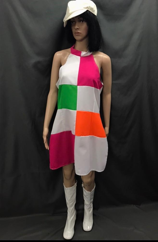 60-70s Ladies - White Mod Dress with Pink and Green - Hire - The Costume Company | Fancy Dress Costumes Hire and Purchase Brisbane and Australia