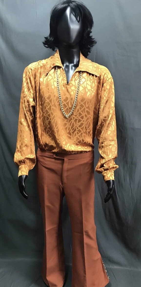 60-70s Mens Costume - Orange Shirt with Brown Pants - Hire - The Costume Company | Fancy Dress Costumes Hire and Purchase Brisbane and Australia