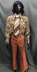 60-70s Mens Costume - Pattern Shirt and Tie with Brown Pants - Hire - The Costume Company | Fancy Dress Costumes Hire and Purchase Brisbane and Australia