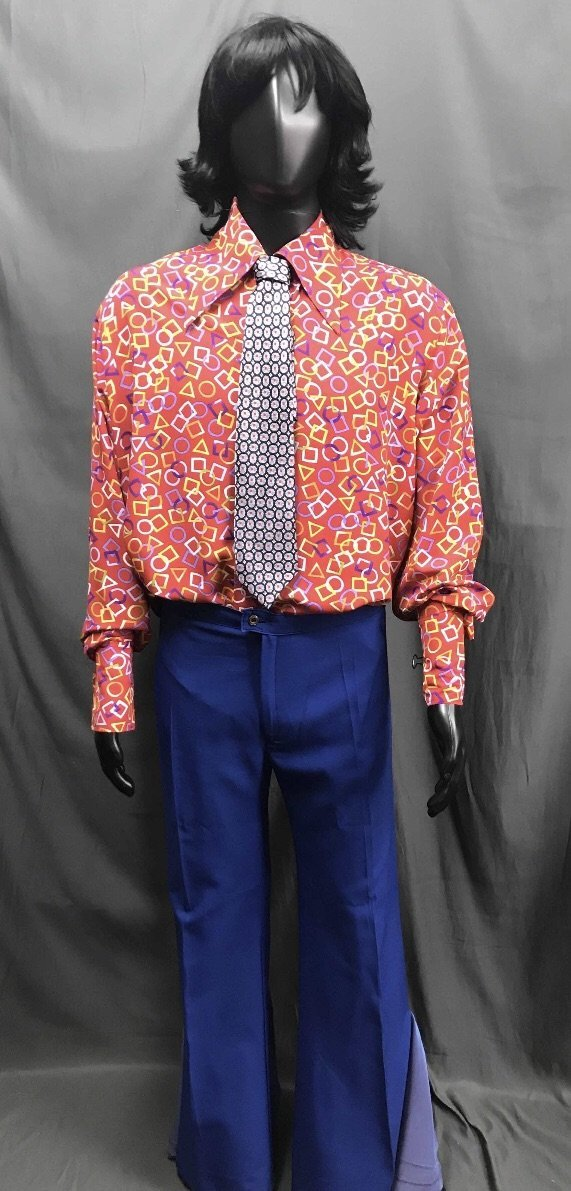 60-70s Mens Costume - Pattern Shirt with Blue Pants - Hire - The Costume Company | Fancy Dress Costumes Hire and Purchase Brisbane and Australia