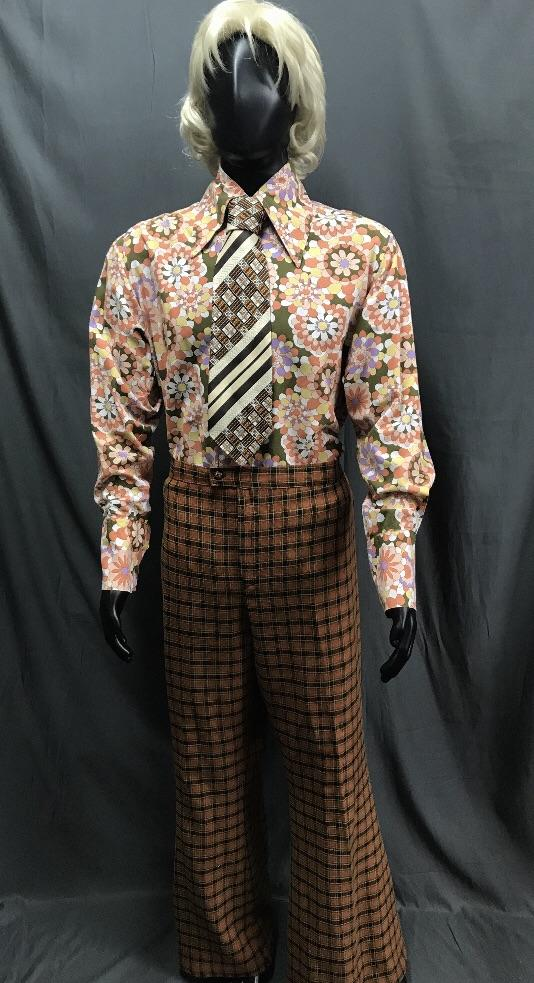 60-70s Mens Costume - Pattern Shirt with Brown Flares - Hire - The Costume Company | Fancy Dress Costumes Hire and Purchase Brisbane and Australia