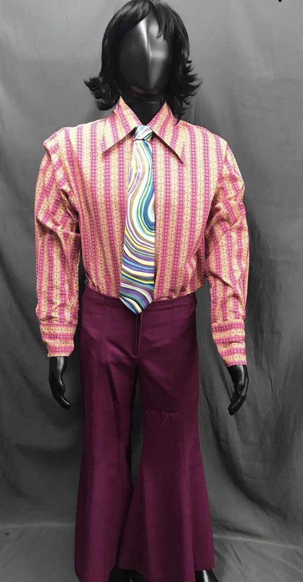 60-70s Mens Costume - Stripe Shirt with Purple Pants - Hire - The Costume Company | Fancy Dress Costumes Hire and Purchase Brisbane and Australia