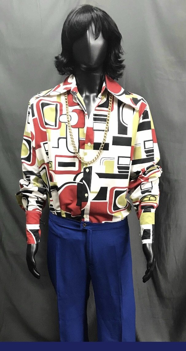 60-70s Mens Disco Costume - Aztec Shirt with Blue Flares - Hire - The Costume Company | Fancy Dress Costumes Hire and Purchase Brisbane and Australia