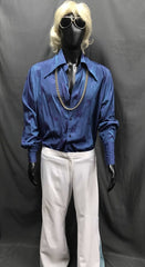 60-70s Mens Disco Costume - Blue Shirt with White Flares - Hire - The Costume Company | Fancy Dress Costumes Hire and Purchase Brisbane and Australia