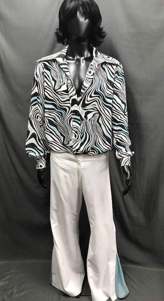 60-70s Mens Disco Costume - Blue White Pattern Shirt with White Flares - Hire - The Costume Company | Fancy Dress Costumes Hire and Purchase Brisbane and Australia