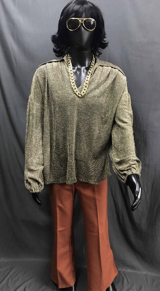 60-70s Mens Disco Costume - Gold Shirt with Orange Flares - Hire - The Costume Company | Fancy Dress Costumes Hire and Purchase Brisbane and Australia