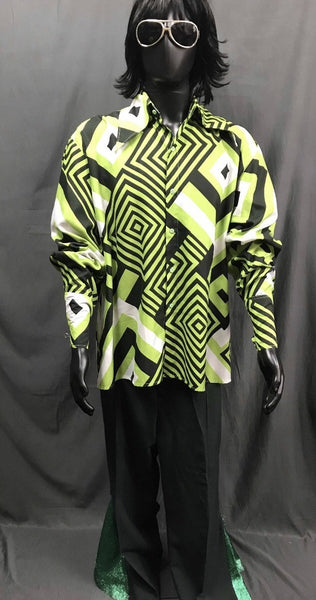 60-70s Mens Disco Costume - Green Pattern Shirt with Black and Green Flares - Hire - The Costume Company | Fancy Dress Costumes Hire and Purchase Brisbane and Australia