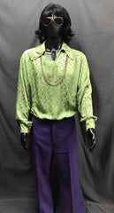 60-70s Mens Disco Costume - Green Shirt with Purple Flares - Hire - The Costume Company | Fancy Dress Costumes Hire and Purchase Brisbane and Australia