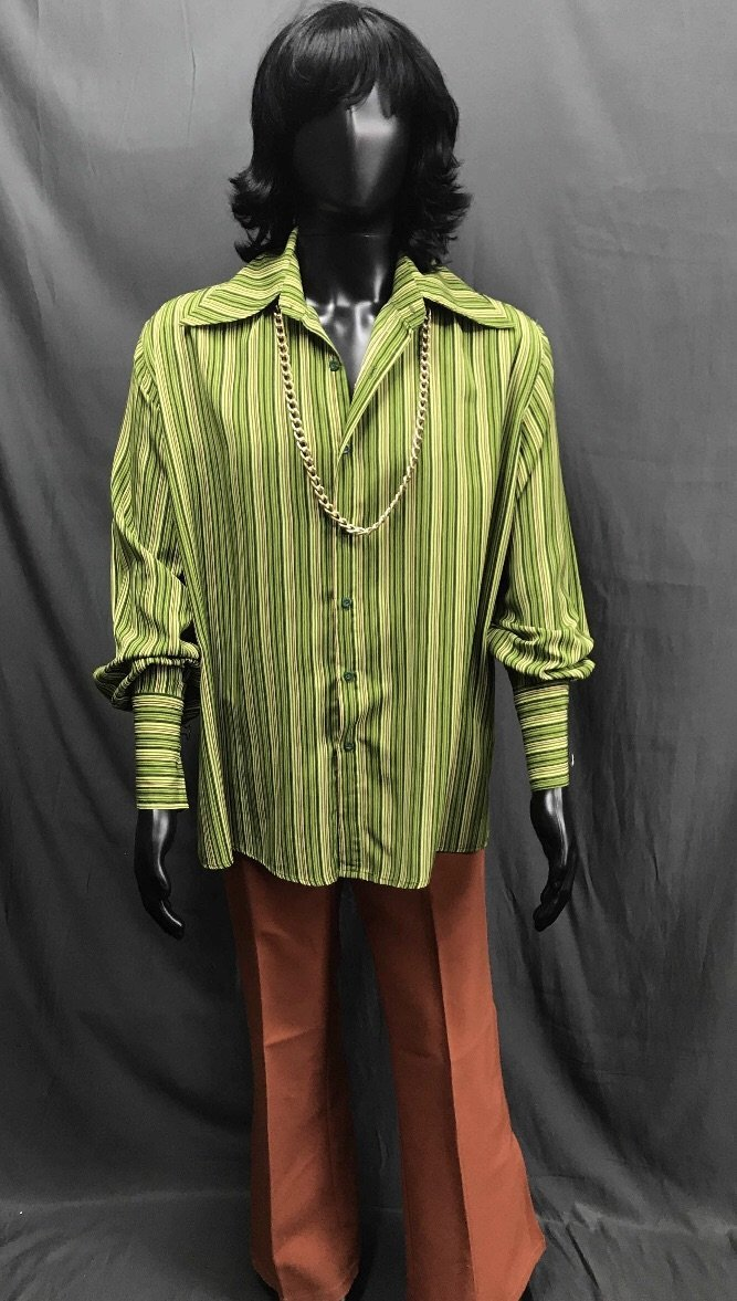 60-70s Mens Disco Costume - Green Stripe Shirt with Brown Flares - Hire - The Costume Company | Fancy Dress Costumes Hire and Purchase Brisbane and Australia