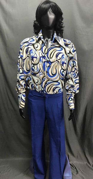 60-70s Mens Disco Costume - Hippie Pattern Shirt with Blue Flares - Hire - The Costume Company | Fancy Dress Costumes Hire and Purchase Brisbane and Australia